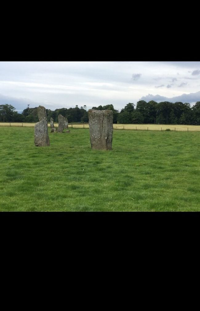 Grass Field Standing Stones Landscape Green Color Scotland