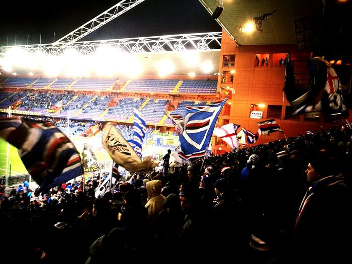Passion Stadium Audience Crowd Large Group Of People Sampdoria Liguria,Italy