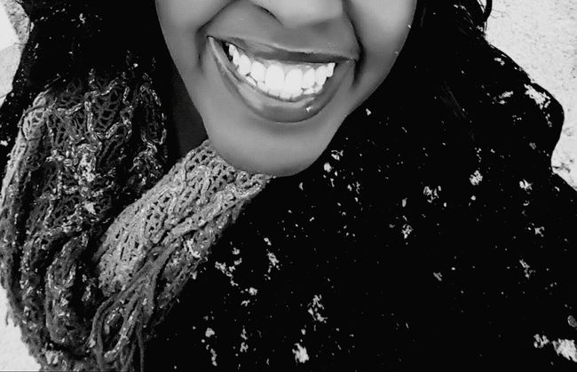 Smile Snow Snowflakes Girl Power Selfphotography Happy Snowflakes Falling On Me  Black And White Blackandwhite Photography