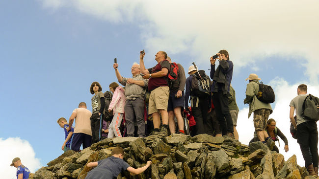 Taking selfies at the summit of Snowdon Achievement Climbing Day Hiking Leisure Activity Lifestyles Low Angle View Mountain Outdoors Peak Selfies Sky Snowdon Snowdonia Summit Three Peaks Top Walking