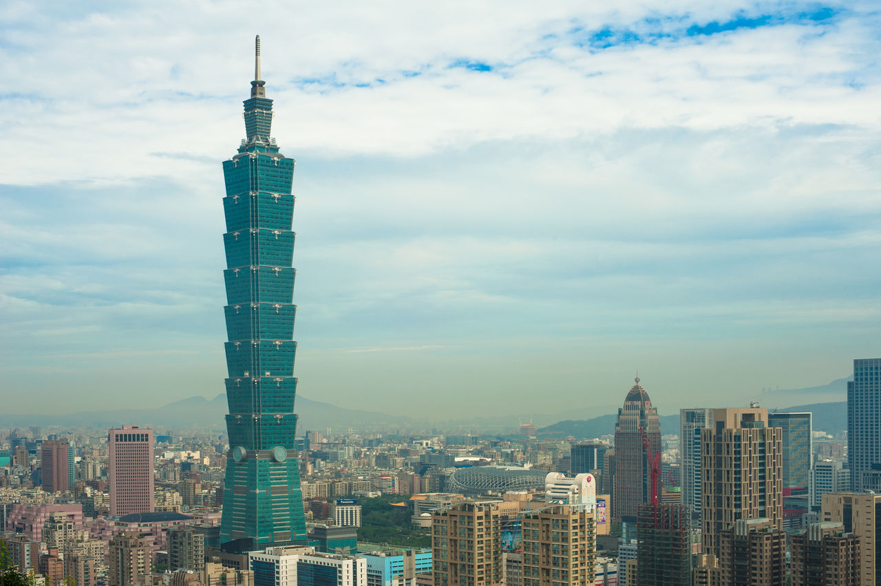 Amazing view at eye level of Taipei 101 101 Architecture Building Exterior City Cityscape Cloud - Sky Day Downtown District Modern No People Outdoors Sky Skyscraper Sunset Taipei Taipei 101 Tower Taipei 101 With Blue Sky Taipei101 Taiwan Taiwan 101 Building Taiwan Iconic Bui Tower Travel Destinations Urban Skyline