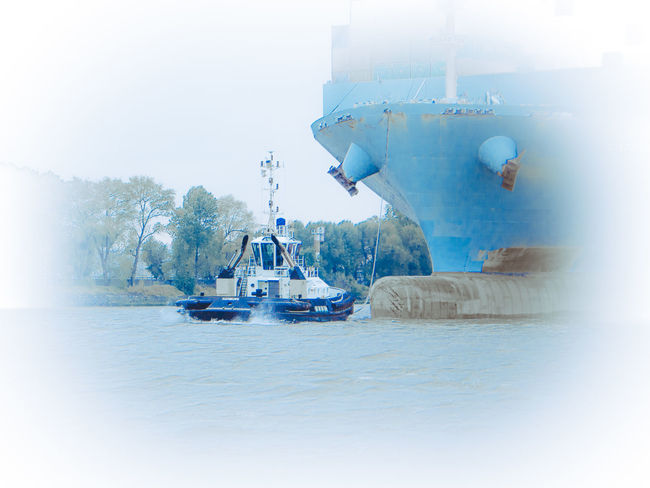 Bugsier tears Container Vessel Blue Boat Bow Bugsier Container Container Ship Elbe Elbe River Logistics Mode Of Transport Nautical Vessel Port Ship Ship's Bow Transportation Tug Vessel Water Waterfront