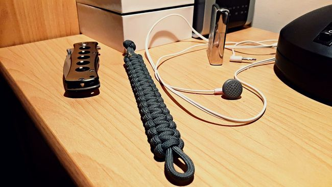 Everything what you need Zippo Lighter Paracord Earphones Knife Table Nighttable Nightlight Watch AlarmClock