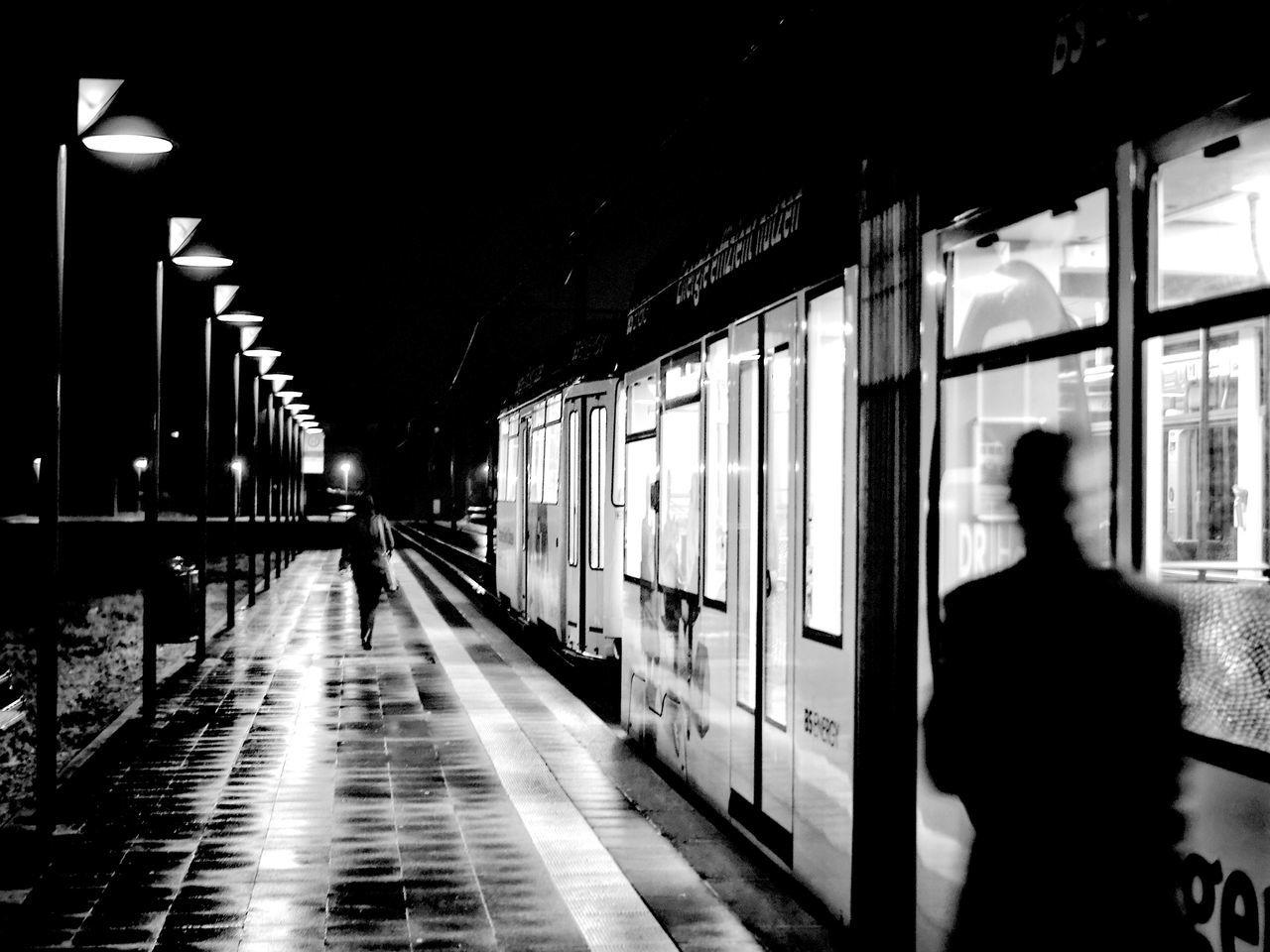 transportation, public transportation, illuminated, train - vehicle, mode of transport, rail transportation, real people, railroad station platform, night, men, indoors, one person, people