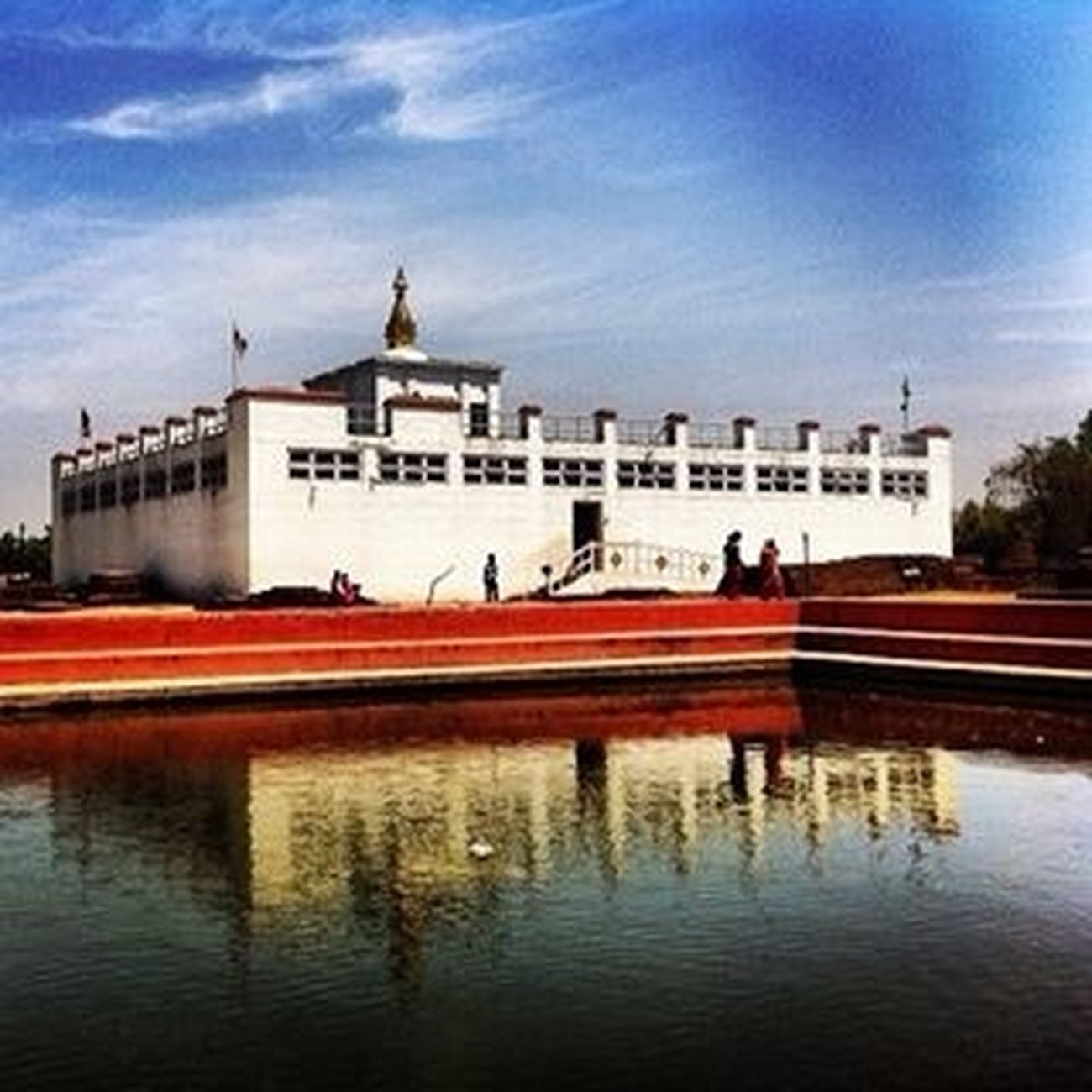 Water Reflections Blue Sky Gautam Buddha's Birth Place in Nepal.