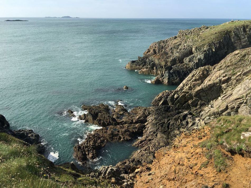 Haverfordwest St David's Coastal Path Sea And Sky Cliffs Waves And Rocks Pembrokeshire Wales