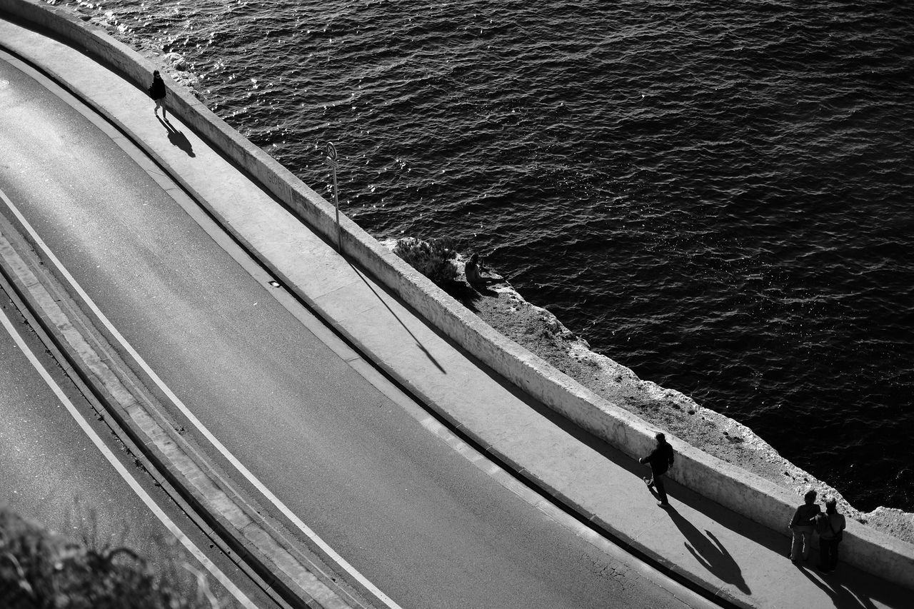 Corniche Kennedy Boat Deck Corniche Day Fishing Pole High Angle View Nature Nautical Vessel No People Outdoors Sea Wake - Water Water Wave Fujifilm_xseries Fujifilm X-E2 Blackandwhite Black And White Streetphotography