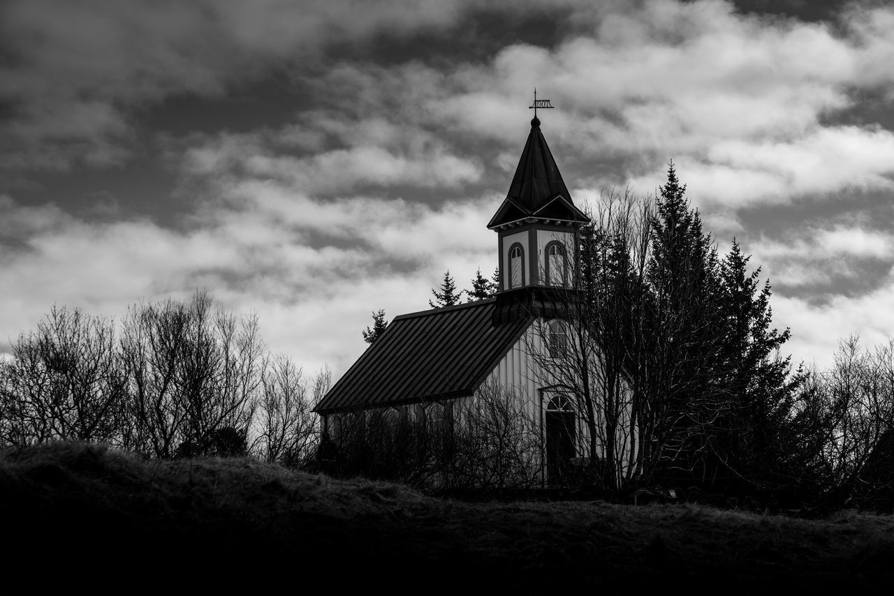 Prayer at the end. Religion Sky Architecture Built Structure Spirituality Place Of Worship Cloud - Sky Day Building Exterior Outdoors Tree Nature Thingvellir National Park þingvellir Church Blackandwhite Black And White Black & White Blackandwhite Photography Iceland Iceland_collection Iceland Memories Dark Creepy