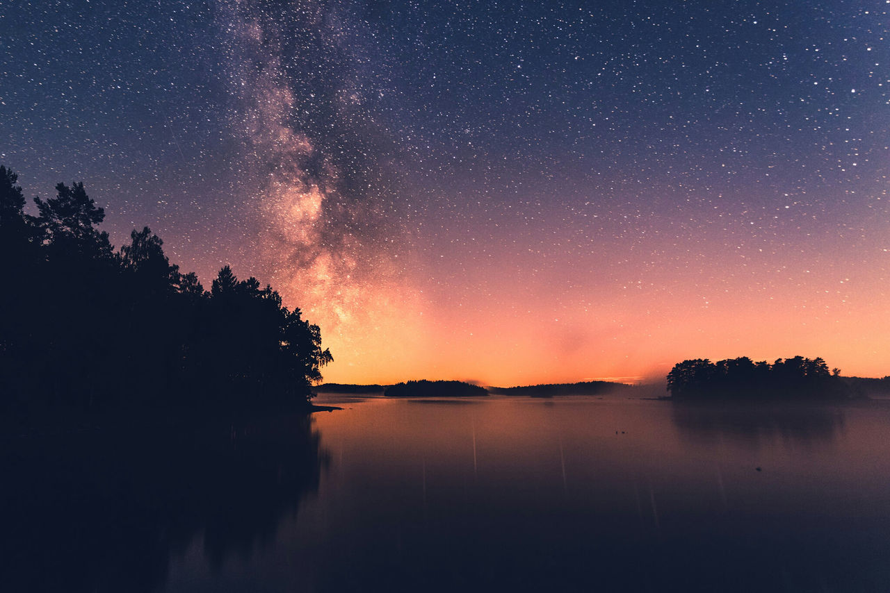 Dear Milky way. I will never grow tired of looking at you. Water Ocean Ocean View Dusk Seascape God's Beauty Lake View Lake Traveling Serenity Beautiful Tranquility Beauty In Nature Travel Sweden Water Reflections Småland Forest Pentax PENTAX K-1 Nightphotography Lakeshore Long Exposure
