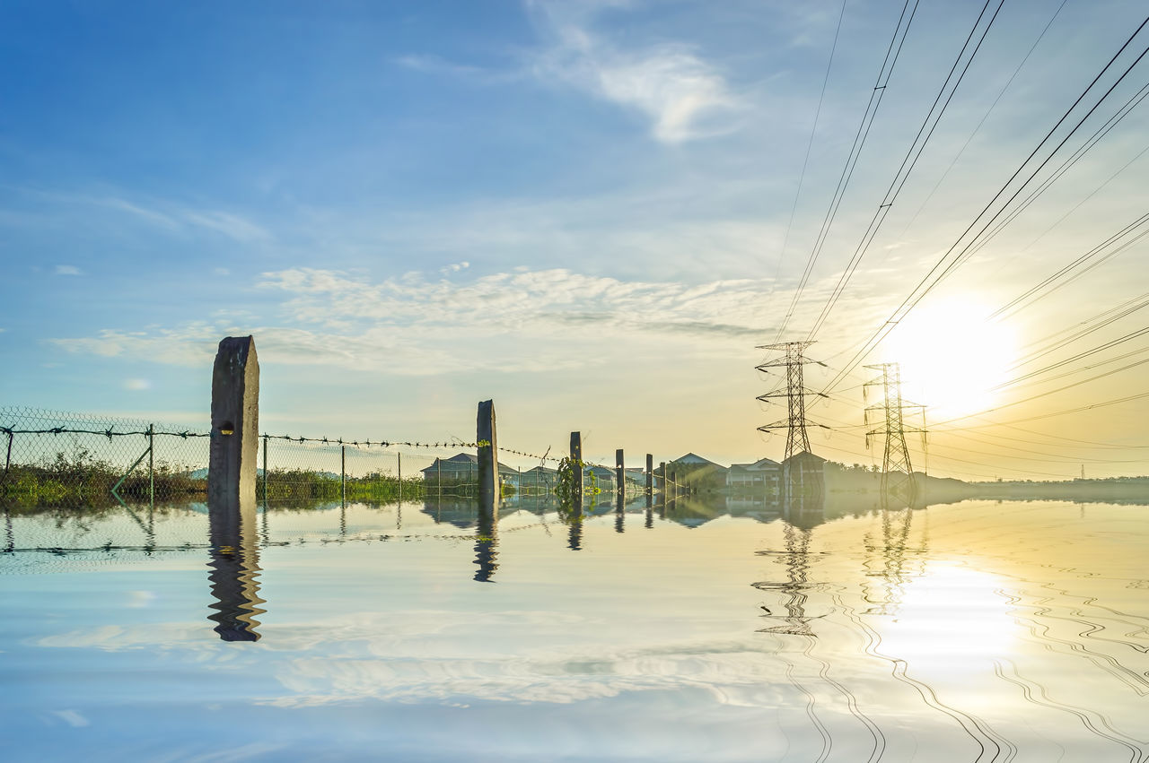 Cable Cloud - Sky Electric Tower  Mirror Nature Outdoors Pylon Sky Sunset Tower Transmission Tower Transmitter Tower Water Reflections