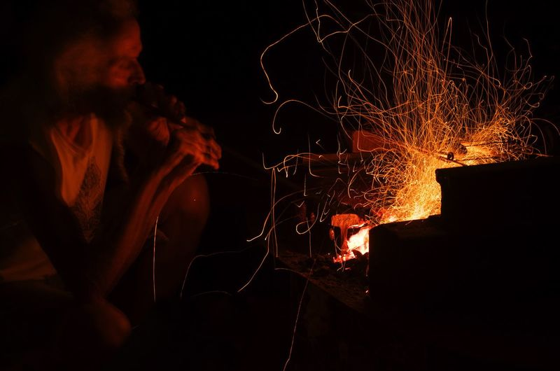 Purist No Edit No Filter Real People Long Exposure Nikon D5100  Light Painting Night Burning Sparks Brazier Light And Shadow