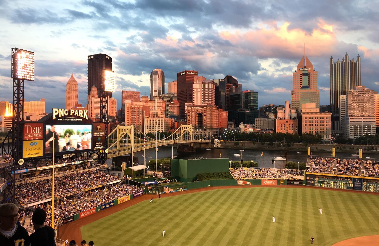 PNC Park in Pittsburgh, Pennsylvania at sunset. PNC Park Pittsburgh Sunset IPhoneography Skyline City Cityscape Baseball Summer
