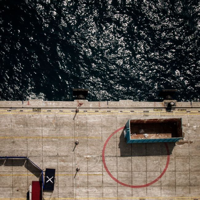 X marks the spot Water Dockside Skip Cruise Ship Top Down Vertical Ocean A Birds's Eye View