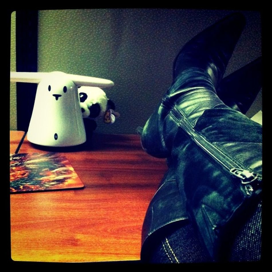 Rocking the boots today. Even the panda is afraid.