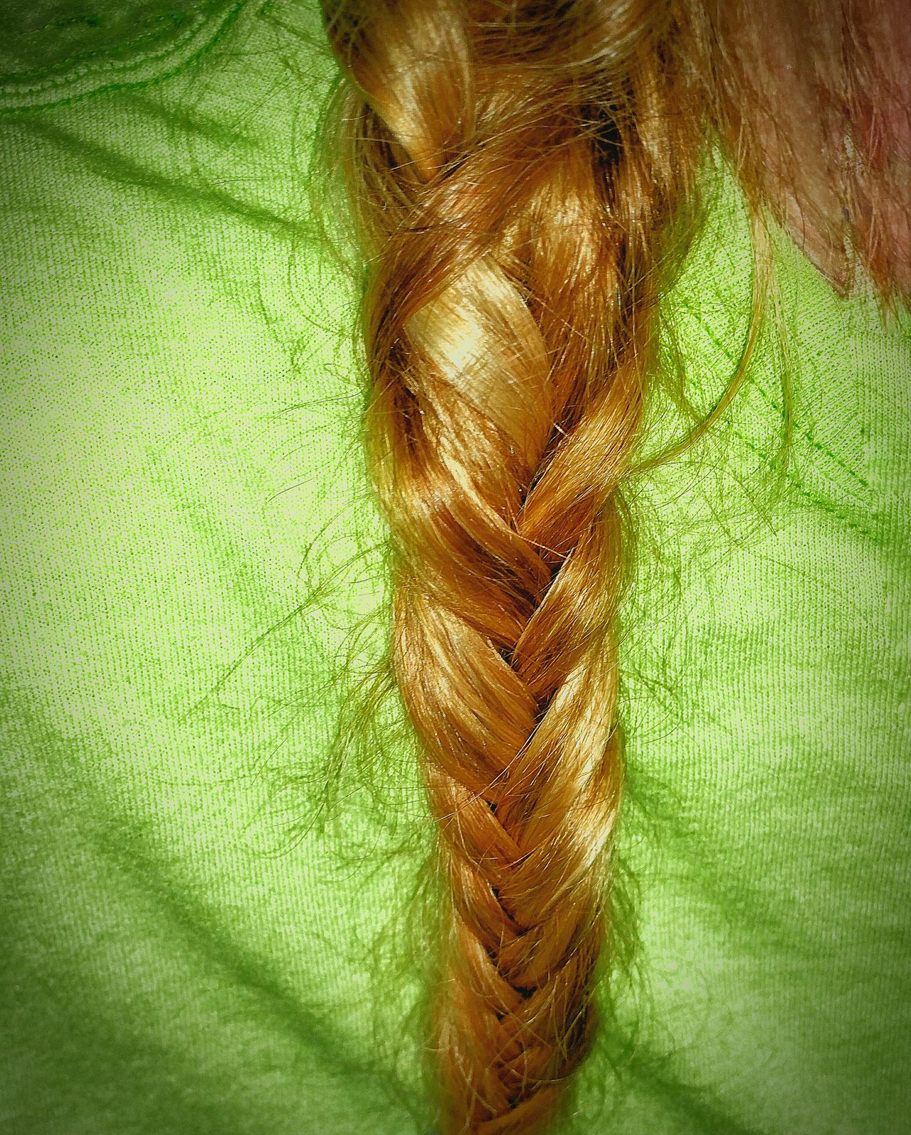 It's Me Hair Photography Hair Braid Fishtail Braid Bright Green Shirt Sun Kissed Hair My Hair Braided Hair Messy Hair Messy Hair Dont Care Messy Braid Showing Imperfection Let Your Hair Down