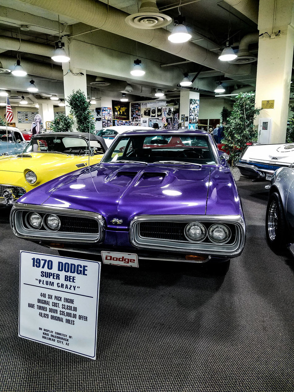 1970 Dodge Super Bee Plum Crazy Car Transportation No People Old-fashioned Indoors  Classic Car Muesum Car Museum Historic Hotel USA Nevada Laughlin Nevada Laughlin Riverside Casino Stationary Casino Old Car Old-fashioned Vehicles Cars Illuminated Mode Of Transport