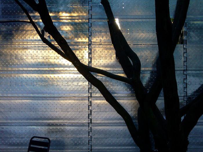 belgian pavillion at biennale Belgian Pavillion Biennale Chair Day Metal Metal Cladding Nature No People Outdoors Reflection Shadow Sunlight Tree Zinc