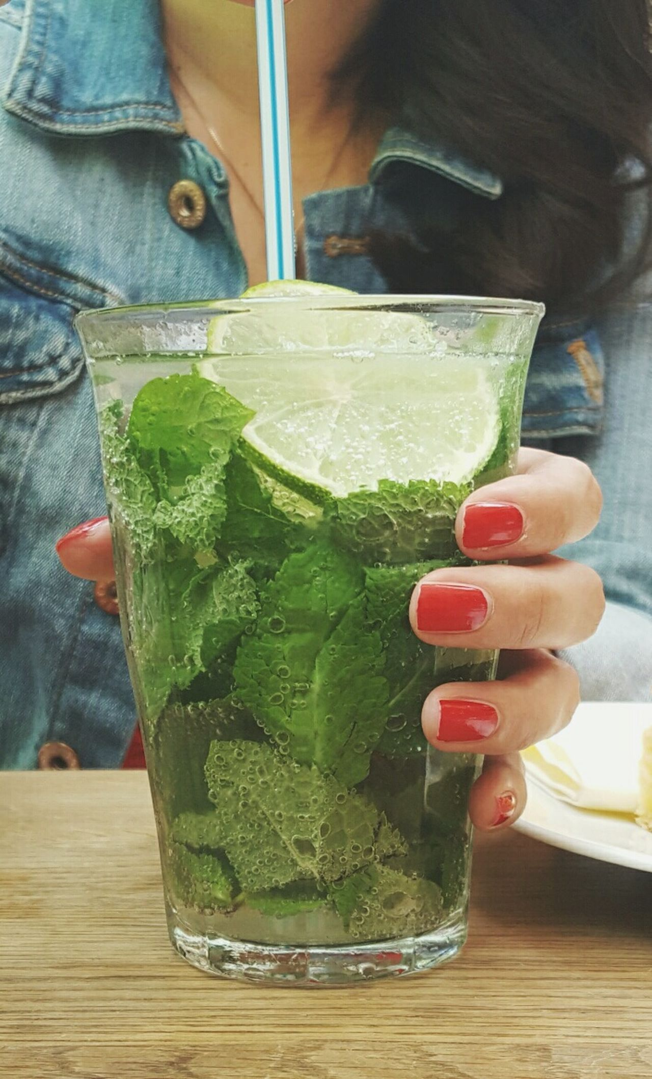 Summer vibes Cropped Female Hand Fingers Red Nails Summer Drink Tirsty Soda Bubbles Elderberry Syrup Fresh Mint Fresh Products On The Table Lemonade Lemon Slice Healthy Lifestyle Healthy Food Drinking Straw Glass Green Lemon Drink Showcase June The Essence Of Summer