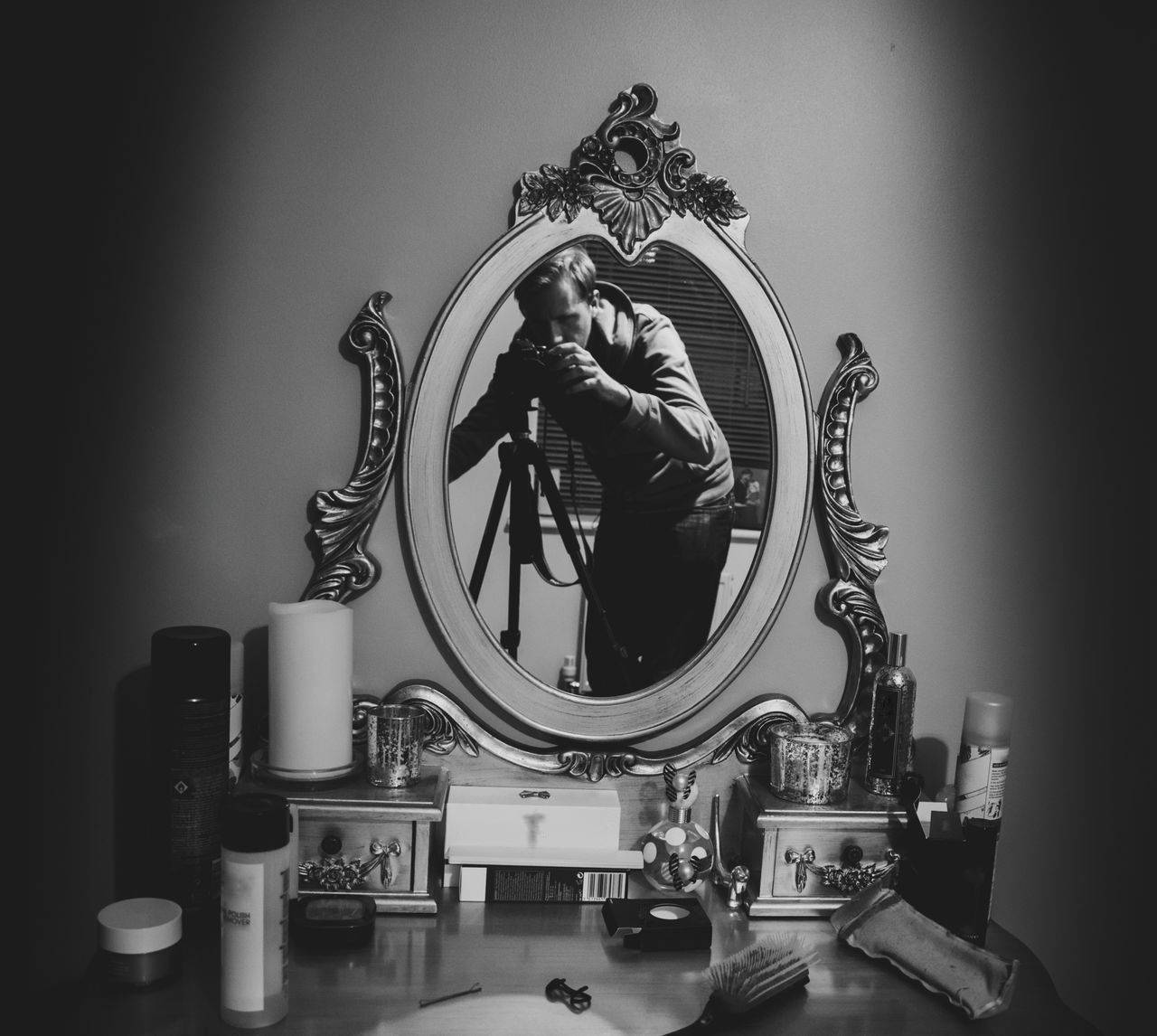 Blackandwhite Clutter Dressing Room Dressing Table Indoors  Makeup Mirror Mirror Picture Mirror Reflection Mirrorless Mirrorselfie Monochrome Old-fashioned Photographer Reflecion Self Portrait Self Portrait Experiments Vanity