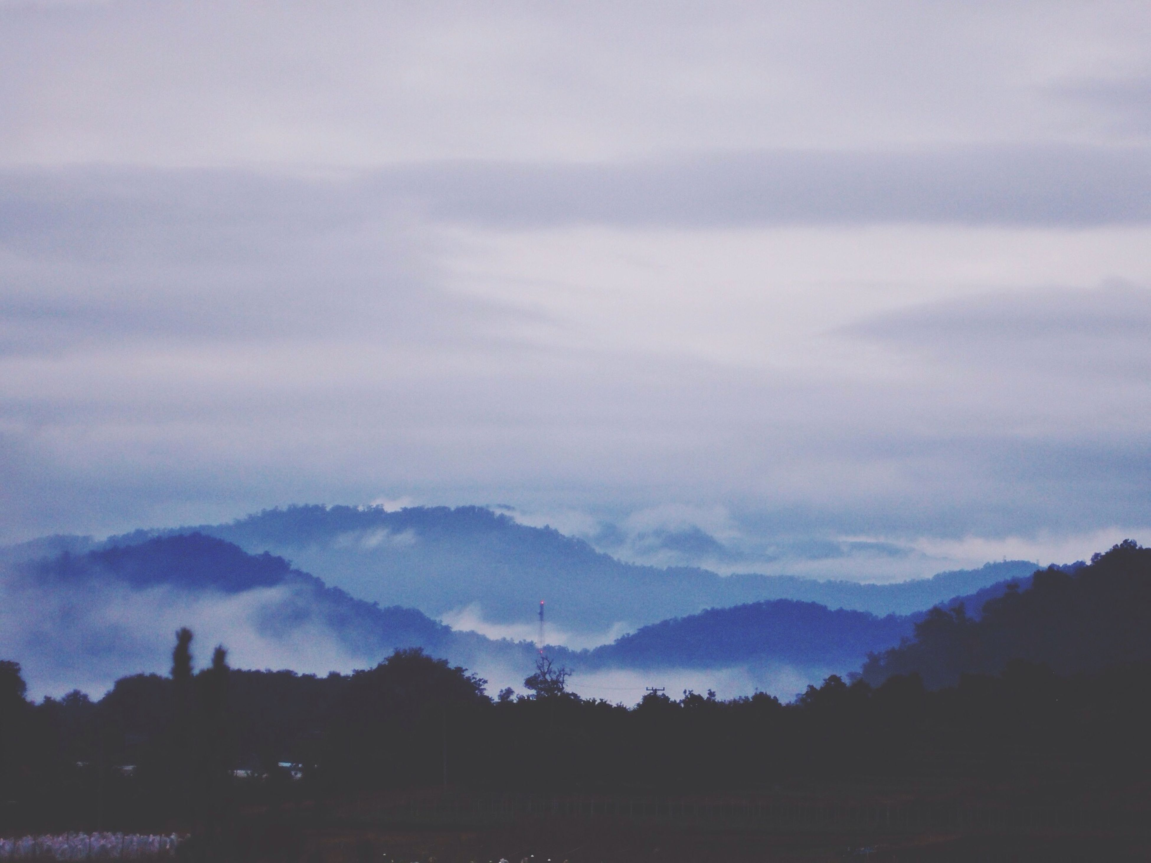sky, no people, nature, beauty in nature, cloud - sky, scenics, outdoors, mountain, tree, architecture, day