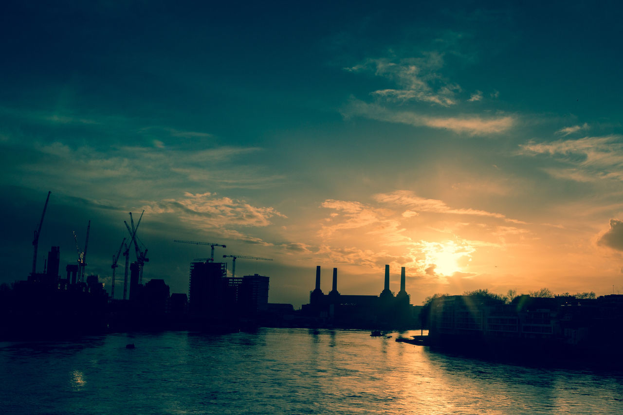 Architecture Battersea Power Station Beauty In Nature City Cityscape Cloud - Sky Crane - Construction Machinery Day Development/construction Dramatic Sky Landmark London Nautical Vessel No People Outdoors Reflection Scenics Sea Silhouette Sky Skyscraper Sunset Thames River Urban Skyline Water