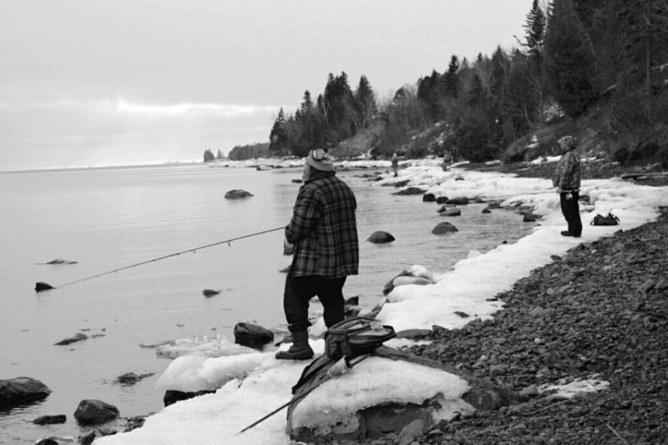 Fishing friends forever Fishing Friendship Lake Superior Winter Water EyeEm Best Shots - Black + White Blackandwhite Photography Winterscapes Water_collection