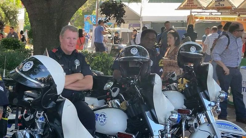 Cops Waiting For Some Disturbance Dark Blue Uniforms Fairground Helmets Motorcycles Officers Police State Fair Of Texas