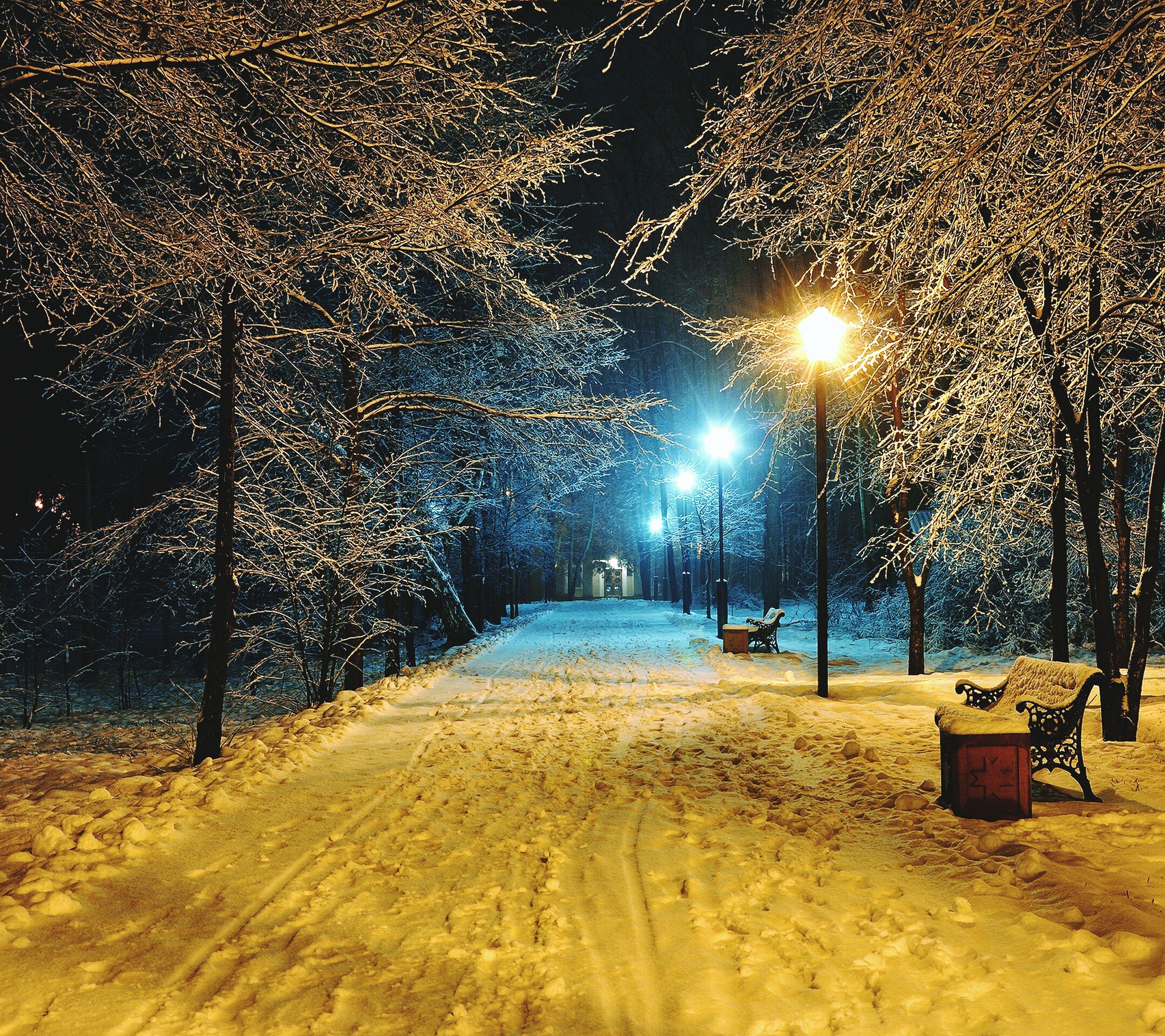 night, illuminated, season, street light, wet, snow, street, weather, the way forward, winter, lighting equipment, cold temperature, road, water, empty, rain, outdoors, tree, nature, absence