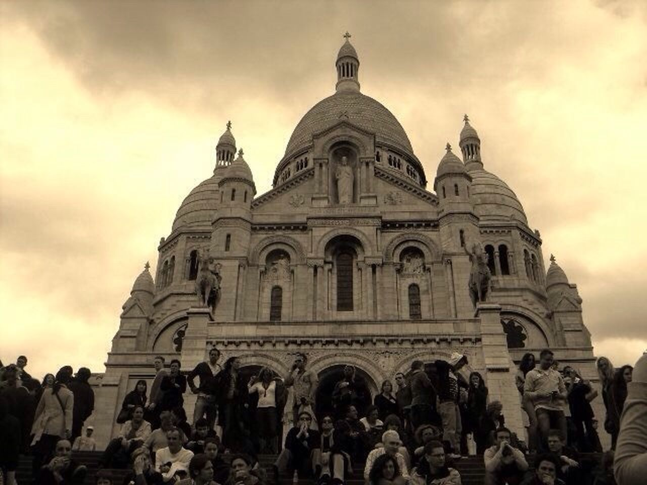 Architecture Large Group Of People Travel Destinations Building Exterior Built Structure Religion City Place Of Worship History Real People Day People J'adore La France Sacre Coeur Montmartre France La France Sacre Coeur Paris, France  EyeEm Best Shots EyeEm Gallery EyeEm Best Shots - Architecture Famous Building Sepia Montmartre, Paris