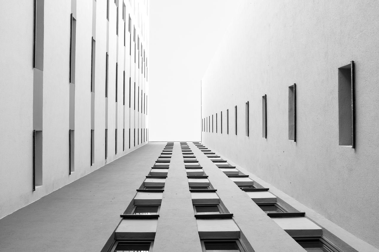 Architecture Berlin Black And White Black And White Photography Blackandwhite Building Exterior Built Structure City Diminishing Perspective Lookingup Low Angle View No People Office Building Sky Skyscraper Tall - High Vanishing Point