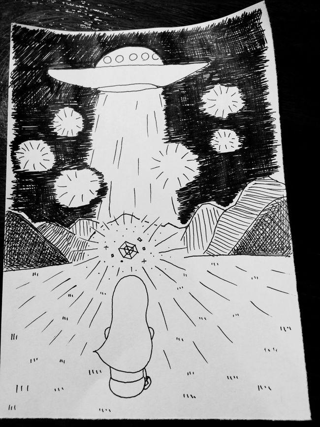 近くて遠い、光る石 Shine UFO Drawing Artboard