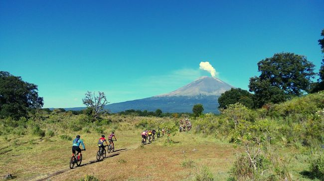 Mountain Landscape Outdoors Horizontal Nature Tree Beauty In Nature Leisure Activity Sky Mexico Cmh Volcano Popocatepetl Race Cycling Cyclist