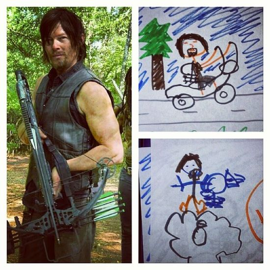 My niece and I decided to draw and we both tried our hand at drawing Daryl. Mine is the top and hers is the bottom. (no, she doesn't watch the show. She just hears me talk about him a lot.) Thewalkingdead Daryl Drawing Coloring