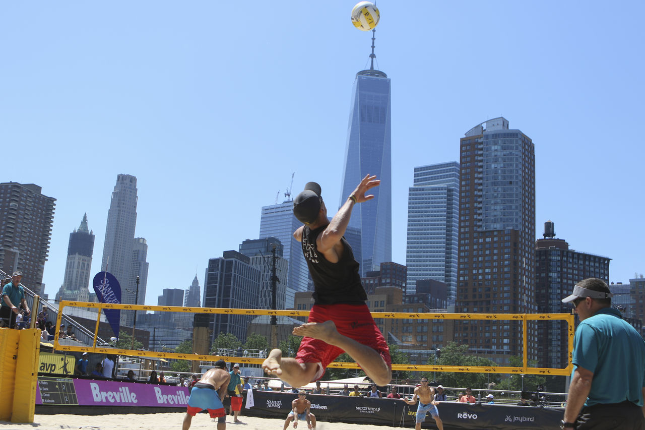 Athlete Avp Beach Volleyball City Volleyball New York City Beach Volleyball New York City Summer One World Trade Center Skyscraper