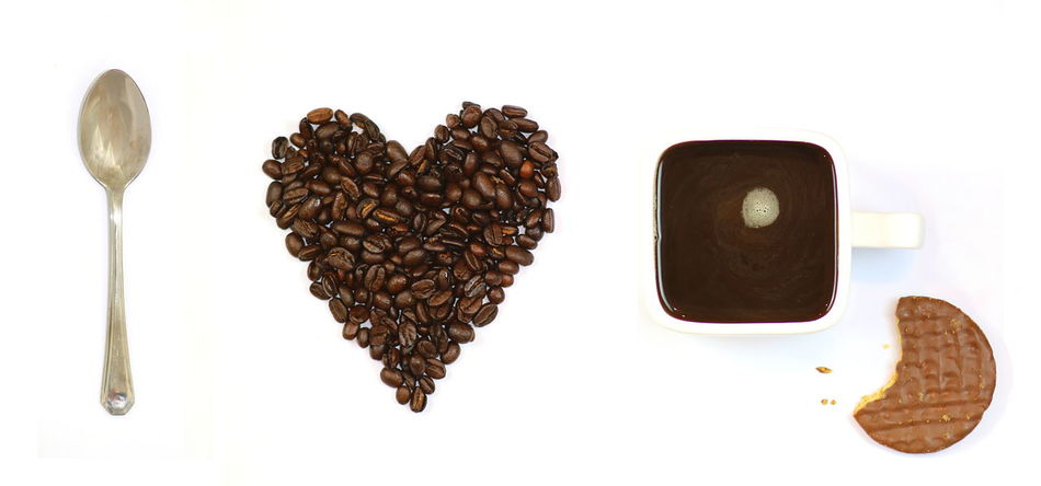 Arrangement Bean Bis Chocolate Close-up Coffee Colors Cooking Drink Heart Love Loveheart No People Spoon Still Life Studio Shot White Background Biscuit