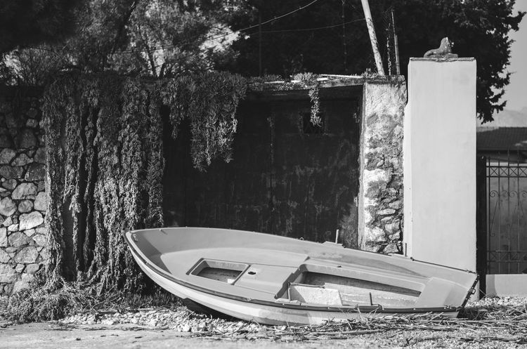Abandoned Black And White Collection  Boat Day Discard Nautical Vessel No People Old Rural Scene Tranquil Scene Tranquility Transportation Tree Weathered