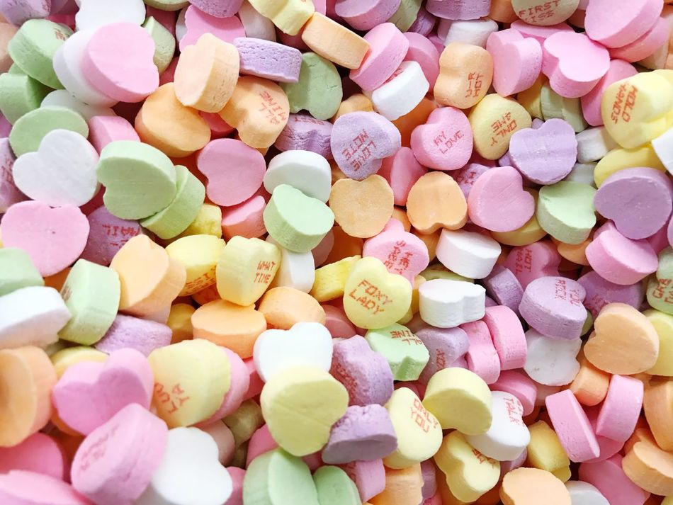 Large Group Of Objects Full Frame Backgrounds Multi Colored Abundance Studio Shot No People Food And Drink Pink Color Close-up Food White Background Day Candy CandyHearts Valentine's Day  Minnesotaphotographer