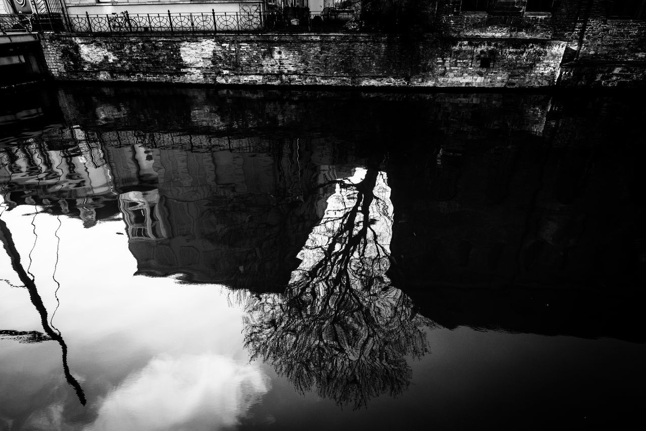 Black And White Blackandwhite Building Reflections Reflection River Street Tree Reflection
