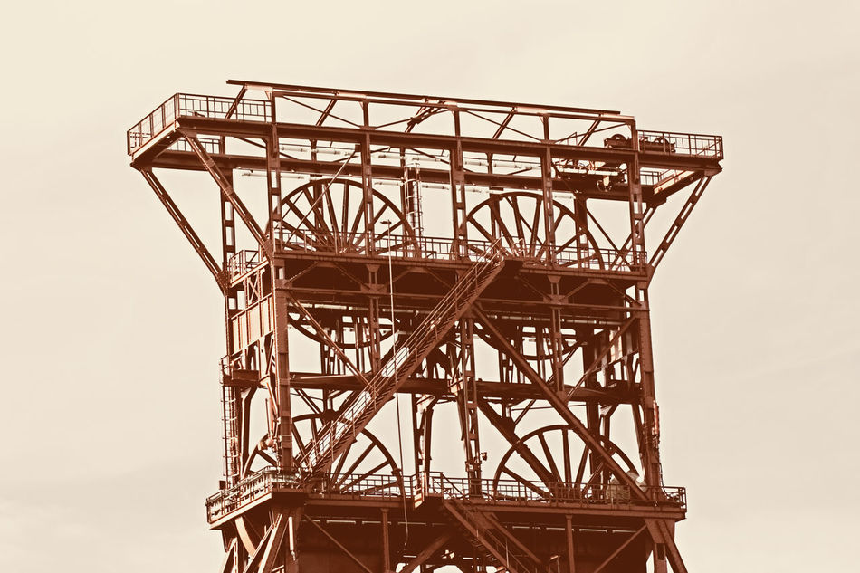 ancient shaft tower - coal mine consol, gelsenkirchen, built 1922, closed 1997 Ancient Ancient Architecture Coal Mine Consol Gelsenkirchen Germany Heritage Heritage Building Industrial Industrial Building  Industrial Culture Industriekultur Industry Landmark Low Angle View Mining Mining Heritage No People NRW Old Old Buildings Ruhrgebiet Sepia Sepia_collection Shaft Tower
