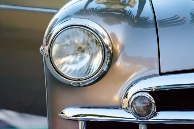 Car Chrome Classic Car Collector´s Car Colour Image Detail Focus On Foreground Front View Headlight Horizontal Land Vehicle Memories Mode Of Transport No People Old Car Old Fashioned Reflection Retro Styled Shiny Technology Transportation Travel Vehicle Hood Vintage Vintage Cars