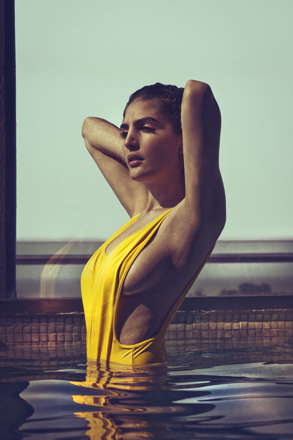 Low Angle View Yellow Young Adult Relaxation Indoors  Auto Post Production Filter Contemplation Young Women Sportswear Medium-length Hair Focus On Foreground Brunette Girl  Brunette Beauty Fashion Femininity yellow swimsuit Leisure Activity Wetnwild WetLook Wethair  Wet Lifestyles Person Fashionable Casual Clothing Beauty