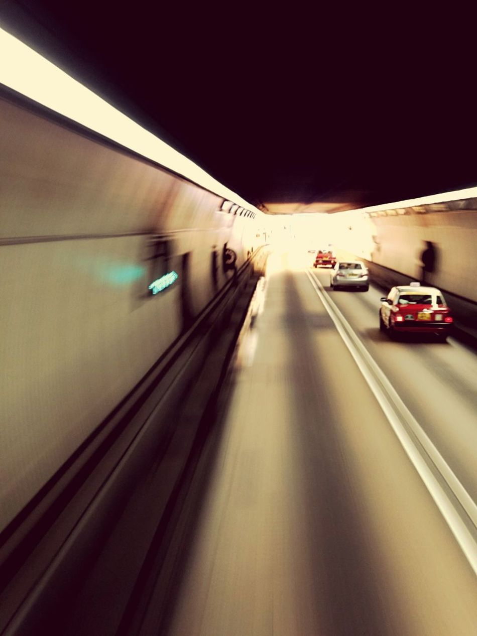 Transportation Car Mode Of Transport Land Vehicle Road Motion Blurred Motion Speed No People Illuminated The Way Forward Night Outdoors Lion Rock Tunnel Hong Kong Shatin