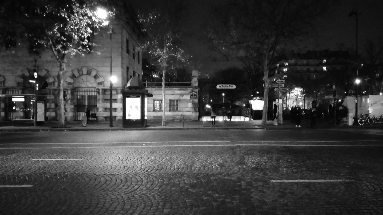 The Other Side Of The Street. · Paris France Road Street Metro Metro Station Metropolitain City Life Still Life Night Life Night Light Night Photography Outdoors Architecture Blackandwhite Black And White