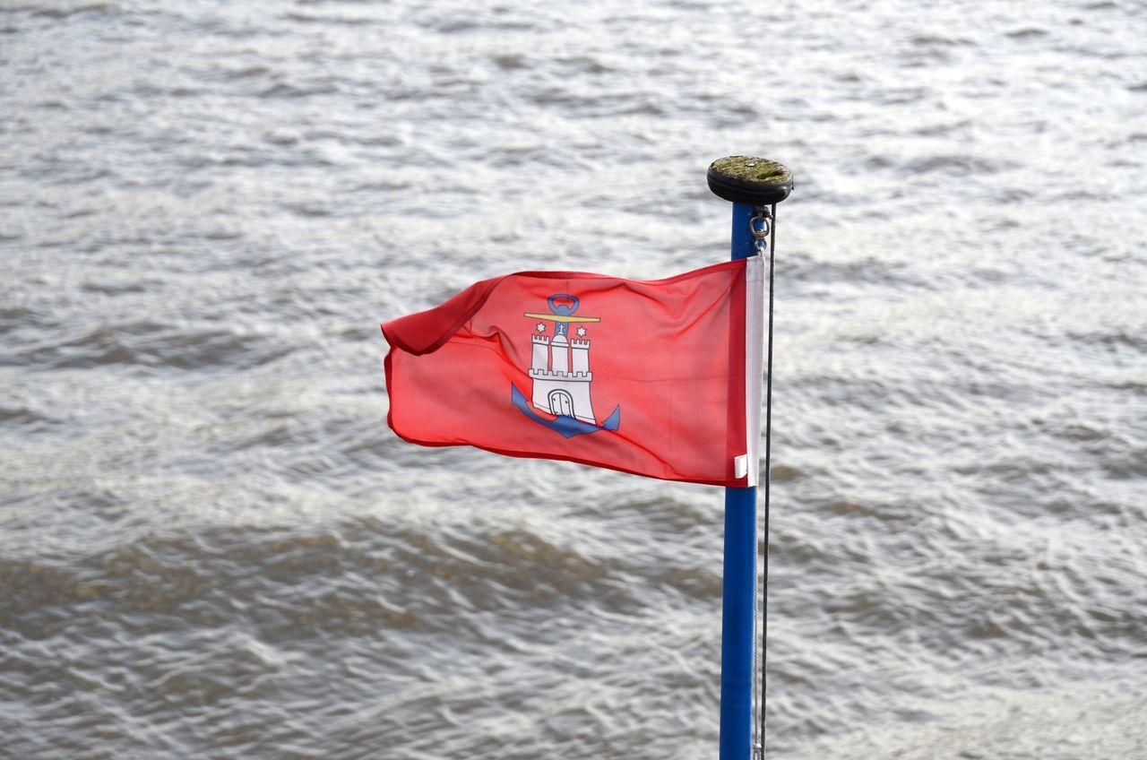 Hamburg Hvv Ferry Flying The Flag