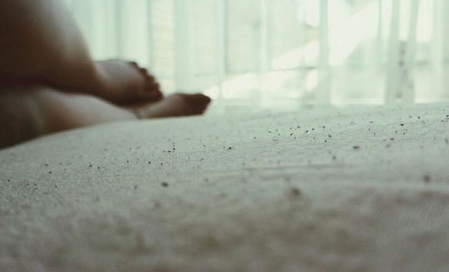 Precision Legs fall on a Perfectly straighted blanket. Put your feet up and breathe a little Bed Feet White Blanket .