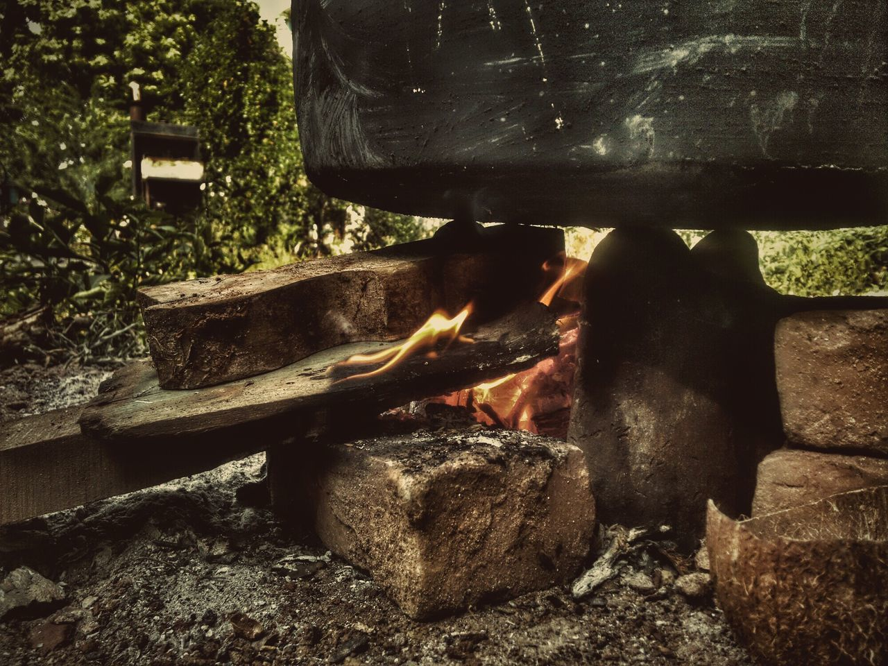 Close-Up Of Food Being Cooked On Campfire