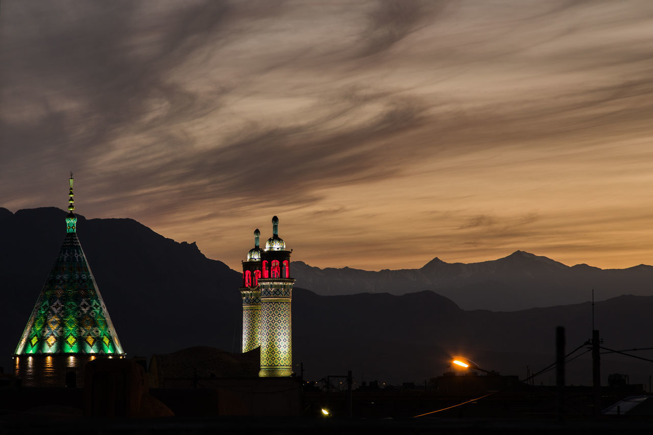 Dramatic Sky Dusk Illuminated Iran Middle East Mosque Mountain Mountain Range Moutains Nature Night Persia Sunset