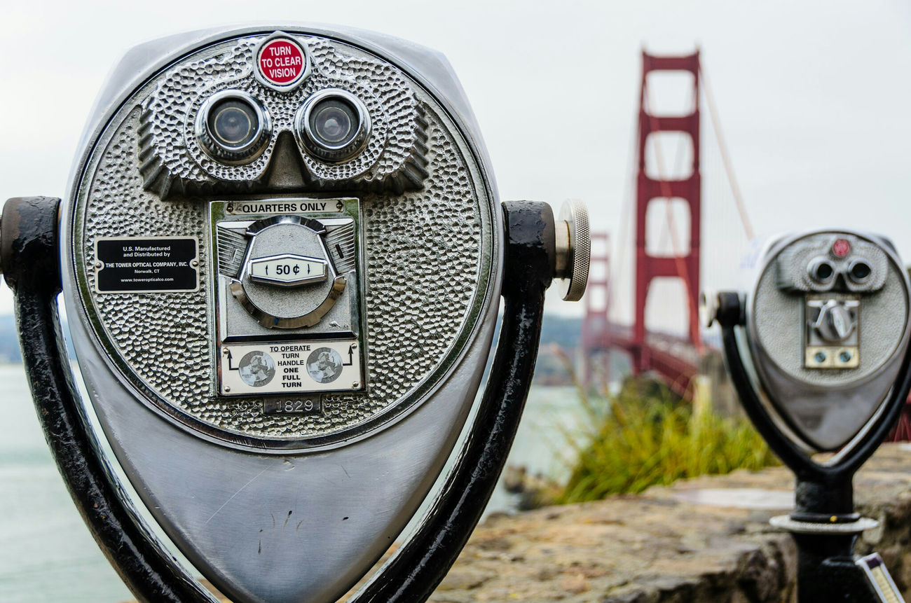 Close-up Coin Operated Focus On Foreground Old-fashioned Coin-operated Binoculars Travel Destinations San Francisco Golden Gate Bridge Outdoors California Landscape USA Sightseeing Tourism Travel Travel Photography