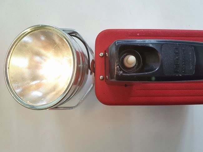 No People Close-up Music Technology Indoors  Photography Themes Day Lamp Vintage Torch Motor Lamp Everready Vintage Torch Product Red Indoors