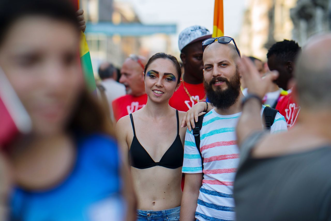 EyeEm Selects Young Adult Lifestyles Leisure Activity Togetherness Friendship People Rainbow Group Of People Milanopride Streetphotography Pride2017 EyeEm Masterclass EyeEm Best Shots Prideparade Outdoors Colors